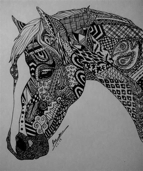 zentangle pattern drawing zentangle horse by evaclifton on deviantart zen tangled