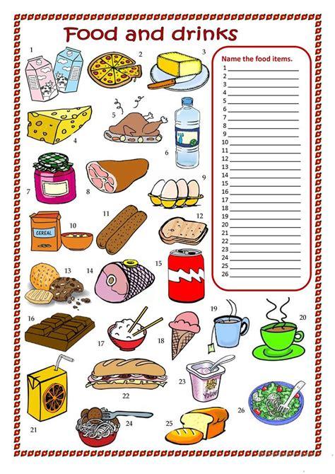 food and drinks worksheet worksheet free esl printable