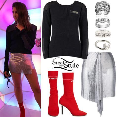 dua lipa outfits dua lipa paneled sweater metallic skirt steal her style