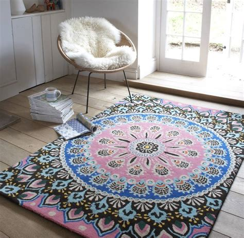 blue patterned rugs nomadic pink and blue patterned rug by i retro notonthehighstreet