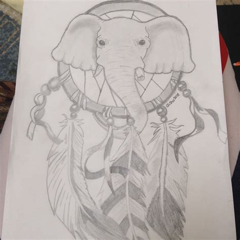elephant tattoo with dream catcher drawn dreamcatcher elephant pencil and in color drawn