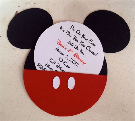 Handmade Mickey Mouse Invitations - handmade custom mickey mouse birthday invitations set of