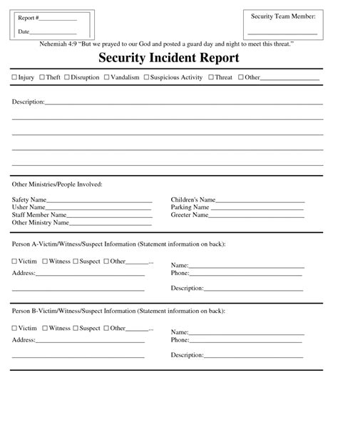 computer incident report template blank security incident report template sle helloalive