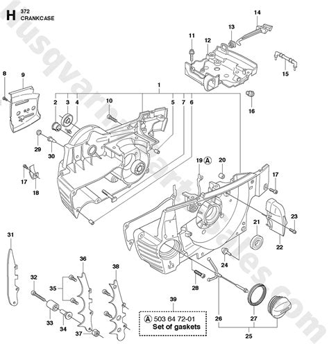 husqvarna chainsaw parts diagram 372xp husqvarna professional chain saw crankcase parts