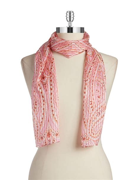 echo paisley silk scarf in pink lyst
