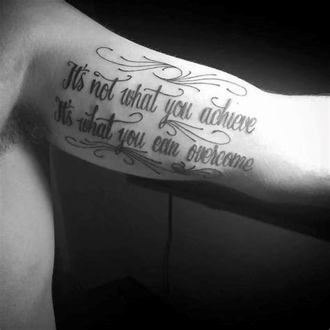arm tattoo quotes for guys 20 overcome tattoo designs for men word ink ideas