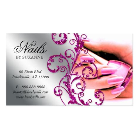 nail business cards templates nail salon business card glitter pink silver 2 zazzle