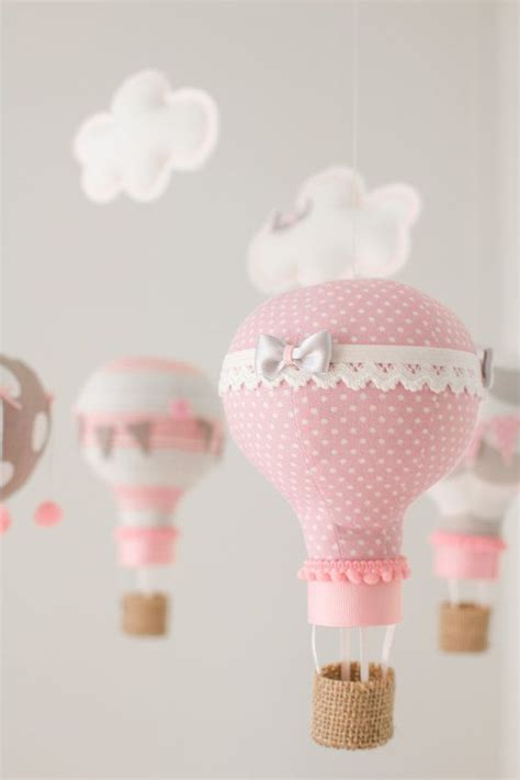 hot themes mobile hot air balloon baby mobile nursery decoration pink and