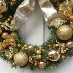 hand crafted custom made white and gold christmas wreath