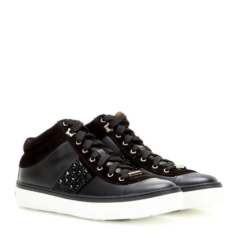 black sneakers jimmy choo bells embellished leather sneakers in black lyst