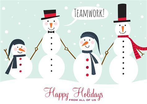 holiday snowman teamwork christmas greeting cards  cardsdirect