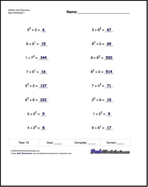 Exponents Worksheets by Adding Exponents Worksheets Including Simple Problems