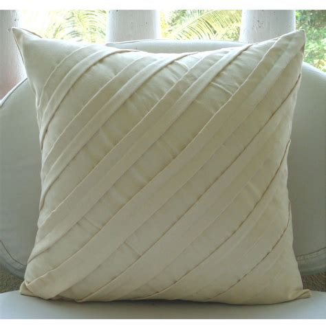 couch pillow cover cream decorative pillow cover square textured pintucks