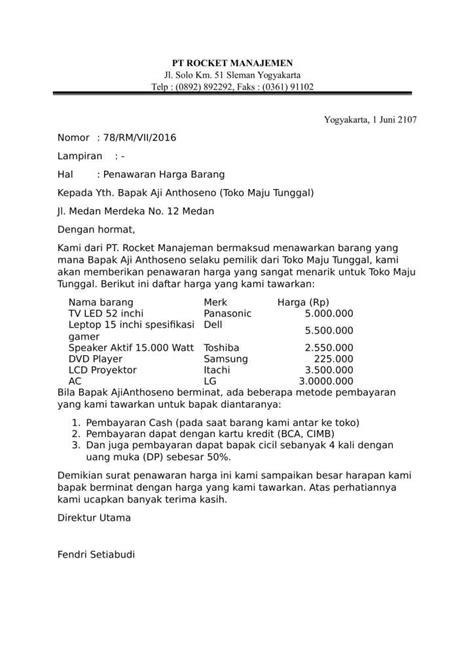 contoh surat penawaran harga yang benar