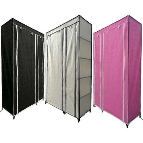 Green Canvas Wardrobe - single canvas wardrobe rail clothes storage with