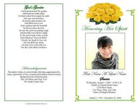 funeral program template funeral program templates majestic yellow
