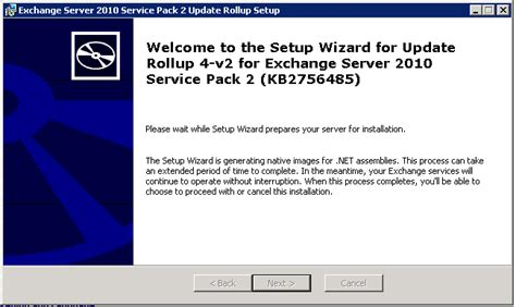exchange 2010 rollup taking forever quot setup wizard is