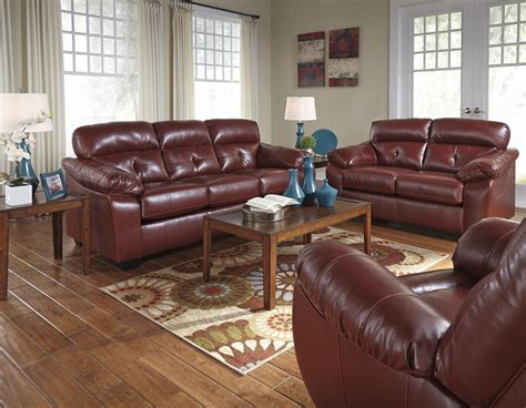 red leather couches ashley furniture benchcraft by ashley bastrop 4460238 4460235 red leather