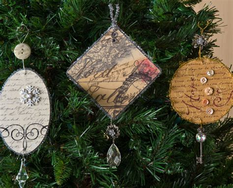vintage diy christmas ornaments mod podge rocks