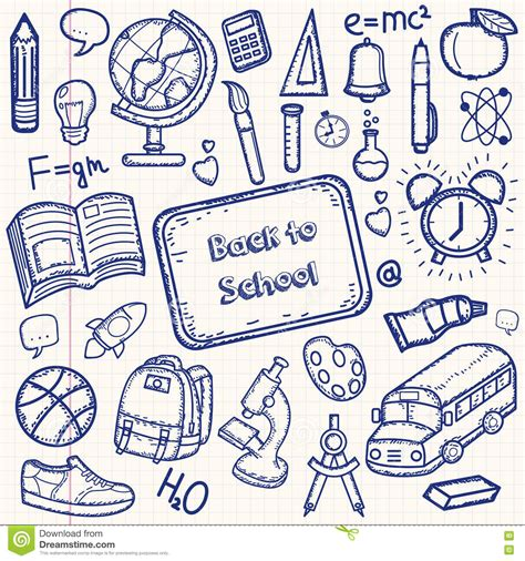 doodle drawing exercises back to school doodle set draw school items on a