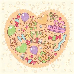 happy birthday greeting card with gifts and balloons vector image 19989 rfclipart
