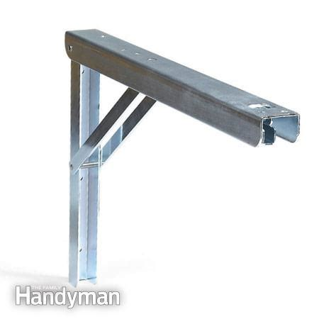 folding bench brackets flexible garage wall storage the family handyman