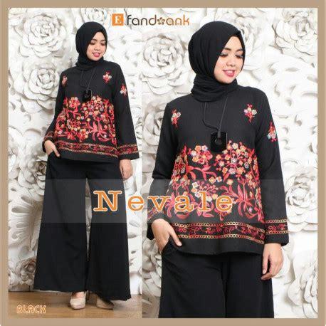 Set Kulot Katun Bluberry Premium Nrayya nevale black baju muslim gamis modern