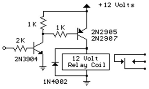 12v backflow diode interface relay with pnp transistor ic schematics