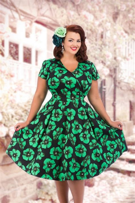 Dress Poppi Green 50s estella green poppy dress in black