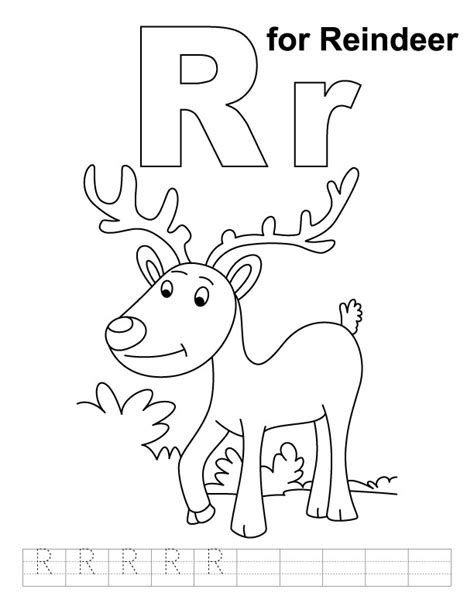 printable reindeer names r for reindeer coloring page with handwriting practice