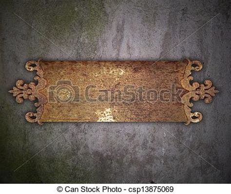 stock illustration of rust metal nameplate on a