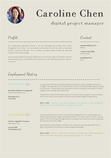 cv layout with photo 13 slick and highly professional cv templates guru