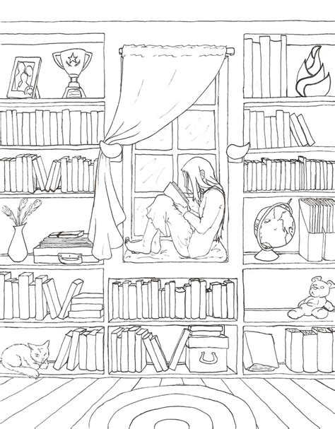 printable coloring pages rooms house solitude lineart by kayqy on deviantart