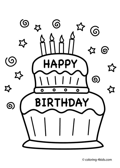 birthday coloring pages for 4 year olds birthday cake coloring pages to download and print for free