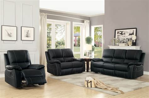 leather reclining furniture sets homelegance greeley top grain black leather reclining sofa set
