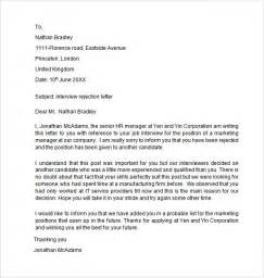 applicant cover letter sle rejection letter to applicant cover