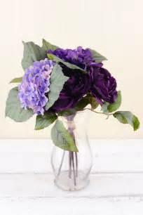 Hydrangea Silk Flower Bouquet 1 purple silk hydrangea flower bouquet 12in