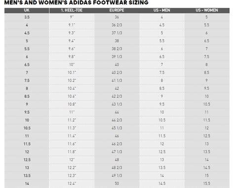 shoe size chart of adidas shoes size table adidas style guru fashion glitz