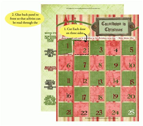 free printable advent calendar christmas countdown