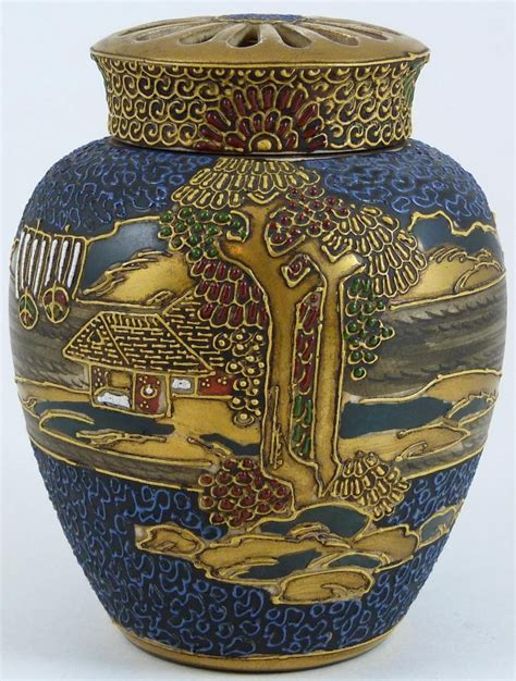 Vases Made In Japan Antique Japanese Pottery Moriage Satsuma Pottery