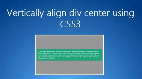 div align html5 vertically center div using css3