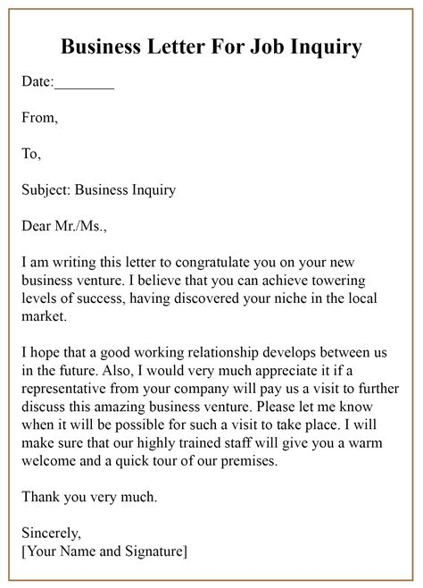 top tips write business letter inquiry business