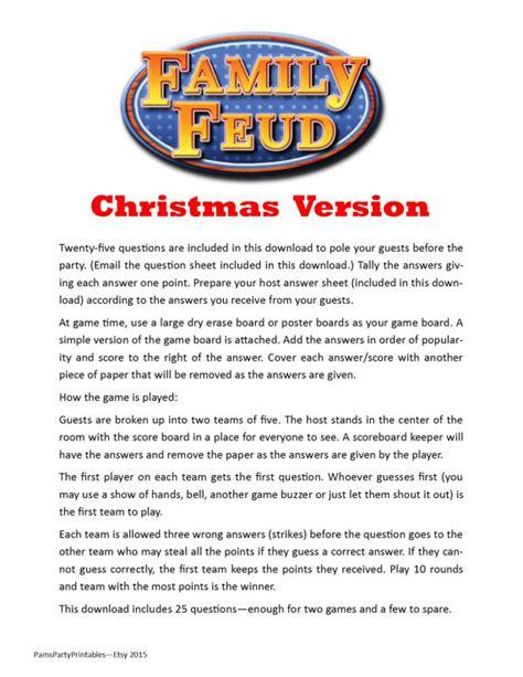 Christmas Family Feud Printable Game Christmas Family Printable Family Feud