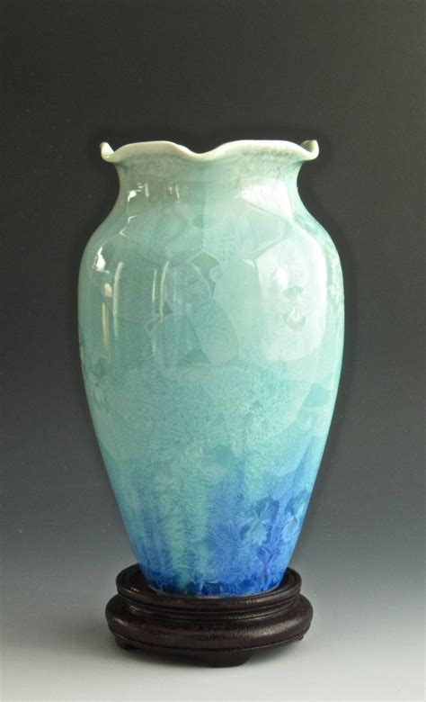 Ceramic Vase handmade ceramic vase crystalline pottery turquoise blue