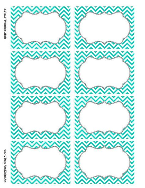 Printable Chevron Label | turquoise chevron labels print your own labels 5