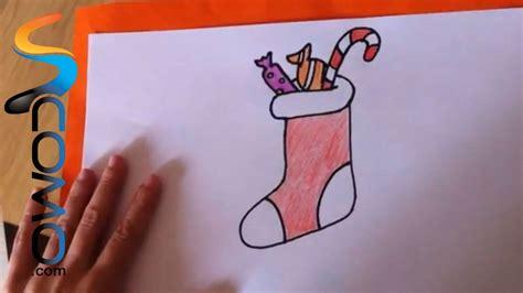 imagenes navidad faciles de hacer c 243 mo dibujar un calcet 237 n de navidad youtube