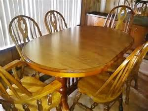 Solid Oak Kitchen Table Set 110 Quot Oval Solid Oak Dining Kitchen Table Set 6 Chairs 4 Leafs Beautiful Ebay