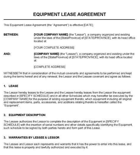 equipment lease contract template template 187 equipment template free