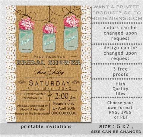 jar bridal shower invitations templates printable burlap and lace pink hydrangea blue