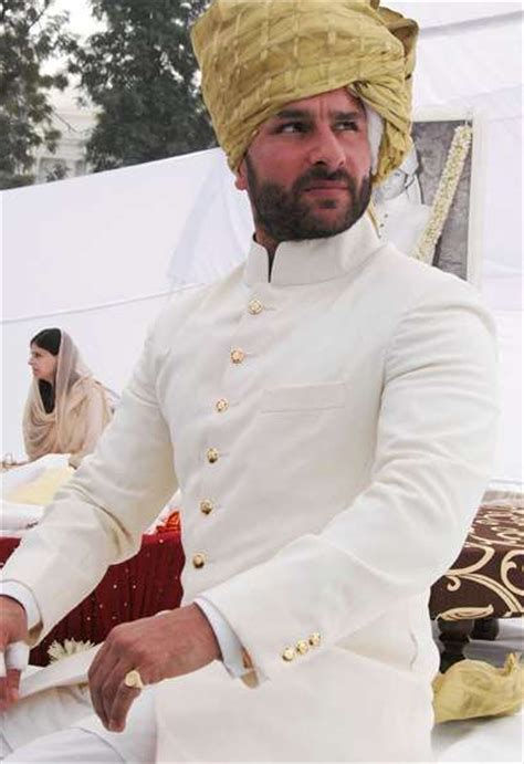 Kurta Colors by Saif Ali Khan In White Sherwani The New Nawab Of Pataudi